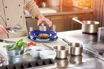 Shaping of dish by chef in restaurant. Male chef at restaurant kitchen making appatizing dish. European cuisine and food preparation.