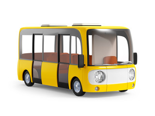 modern cartoon bus yellow