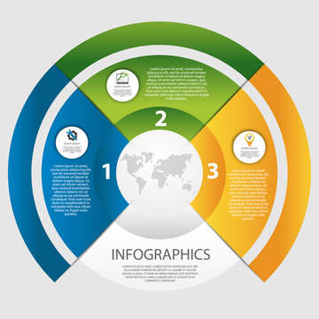 Modern vector illustration 3D. The template of a circular infographic with 3 elements, sectors and percentages. Designed for business, presentations, web design, diagrams with 3 steps