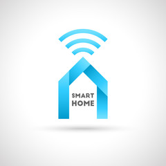 Smart home concept. House and wi-fi signal as logo design in modern and unique style.