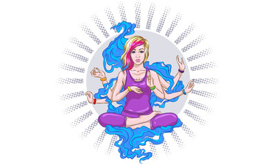 Girl meditates in the lotus position, peace gesture. Geometric element hand drawn. Psychedelic Poster in the style of 60's, 70's. Sacred Geometry. Yoga. Promoted peace and love.