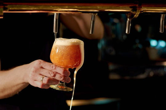 Close up of waiter hand pouring beer. Close up hand of man pouring fresh drink from a stainless steel beer tap in glass. Beer pouring in pub.