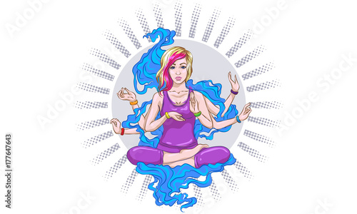 Girl meditates in the lotus position, peace gesture