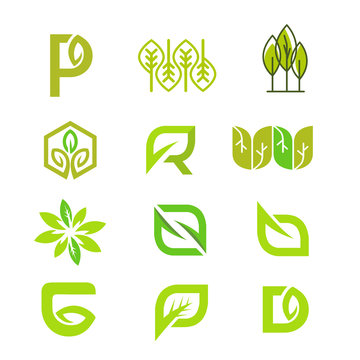 set of logo green leaf icons