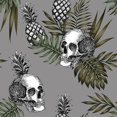 skull pineapple pattern seamless