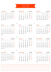 Vector Print Template. Calendar for 2018 Year. Week Starts Monday. Stationery Design