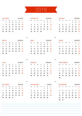 Vector Print Template. Calendar for 2019 Year. Week Starts Monday. Stationery Design