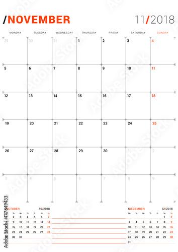 November 2018 Vector Print Template Monthly Calendar Planner For
