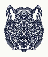 Wolf tattoo and t-shirt design. Northern wolf, symbol of force, wild nature, outdoors. Ornamental  celtic wolf tattoo