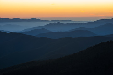 Sunset over the Blue Ridge Mountains background landscape