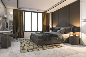 3d rendering brown luxury bedroom with contemporary decor