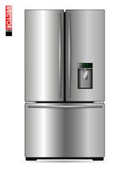 Large double-wing refrigerator with metal coating, display and freezer. Suitable for illustrating kitchens, products or home appliances. Front view.