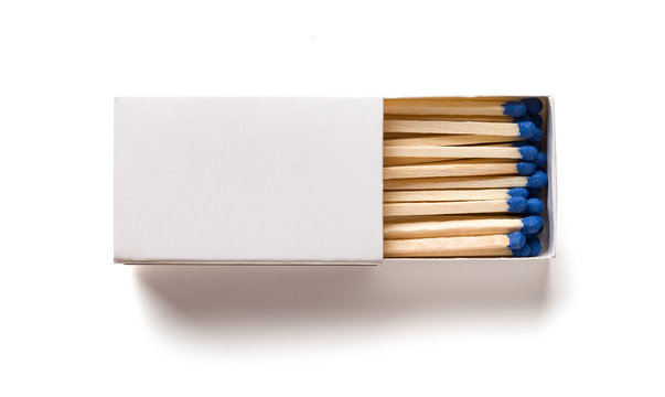 top view matchbox on white with clipping path