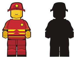 people, designer, profession, work, cartoon, illustration, toy, uniform, fireman, fire, extinguish, two, different