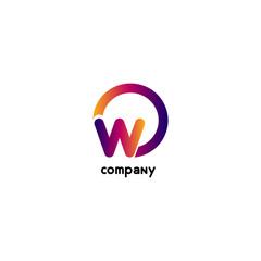 O & W Letter logo design vector element. White background.