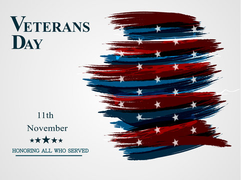 Banner of happy veterans day holiday flag sign illustration design over a white background.