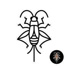 Cricket insect stylized logo.