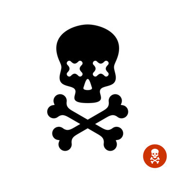Scull and crossbones logo with X eyes.