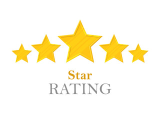 Gold stars rating. Five stars. Sign of high service restaurants, hotels, support and other. Goldstar symbol of achievements and victories. Vector illustration in cartoon style on white background