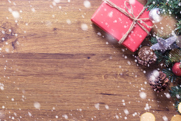 Christmas background with gift boxes decorations on wooden, copy space.