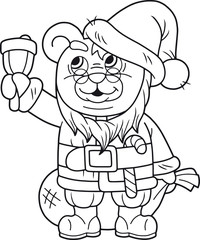 cartoon cute teddy bear santa