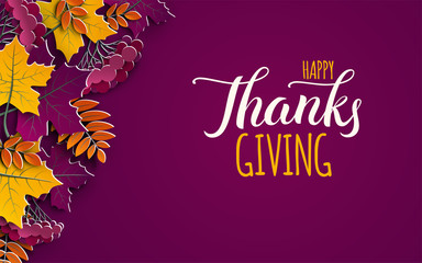 Thanksgiving holiday banner with congratulation text. Autumn tree leaves on purple background. Autumnal design for fall season poster, thanksgiving greeting card, paper cut style, vector
