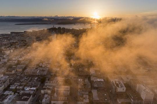 Unique Aerial view of Sunrise in San Francisco