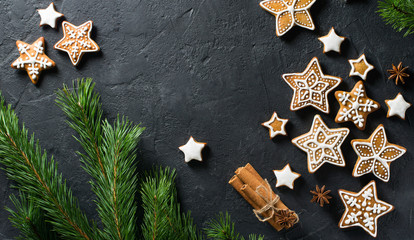 Christmas background with festive decoration, gingerbread and branch of fir