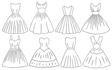 Doodle dresses set retro style women dresses black white