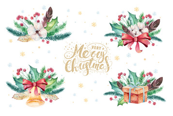 Wall Mural - Merry Christmas watercolor bouquets card with floral elements. Happy New Year lettering posters. Winter flower holy jolly decoration.