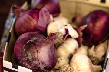Close-up of spanish onions and garlic for sale. A box filled with organic onions for sale at farmers market.