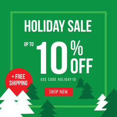 Holiday Up To 10% Off Sale Advertisement Square Template Vector Illustration