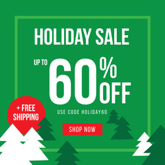 Holiday Up To 60% Off Sale Advertisement Square Template Vector Illustration