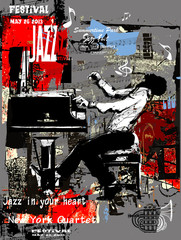 Photo sur Plexiglas Art Studio Jazz poster with pianist over grunge background