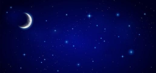 Mondsichel mit Nachthimmel Hintergrund Banner