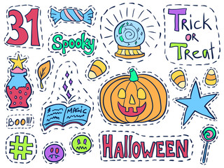 Patch badges halloween set holiday doodle stickers 1