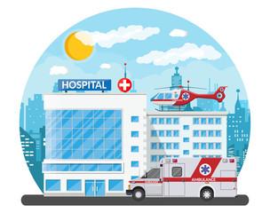 Hospital building, medical icon.