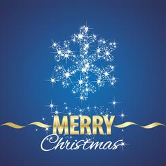Christmas snowflake symbol stardust blue background
