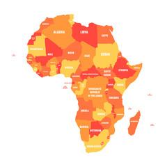 Orange political map of Africa. Vector illustration.