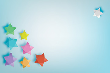 Coloful star paper art