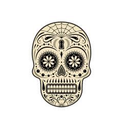 Graphic illustration of decorative sugar skull. Day of the dead skull.