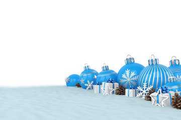 many blue christmas baubles and christmas decorations over white background - merry christmas concept