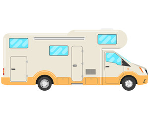 House caravan on a white background. House-trailer. Vector illustration