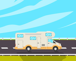 House-caravan on a road. House-trailer. Vector illustration