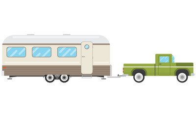 Pickup pulls the house on wheels on a white background. House-trailer. Vector illustration