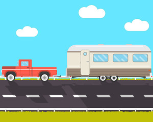 Pickup pulls the house on wheels on a road. House-trailer. Vector illustration