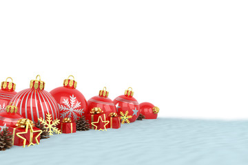 many red christmas baubles and christmas decorations over white background - merry christmas concept