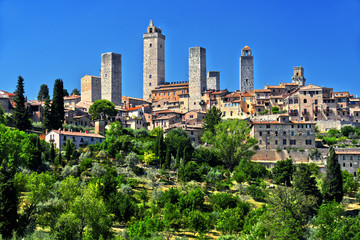 Panoramic view of San Gimignano in Tuscany, Italy
