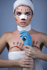 Model in image of plastic surgery victim