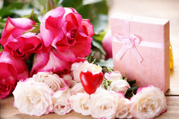 Roses, heart shape and gift box